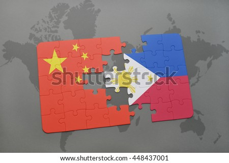 puzzle with the national flag of china and philippines on a world map background. 3D illustration