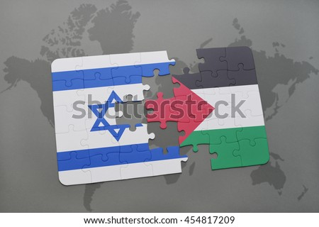 puzzle with the national flag of israel and palestine on a world map background. 3D illustration