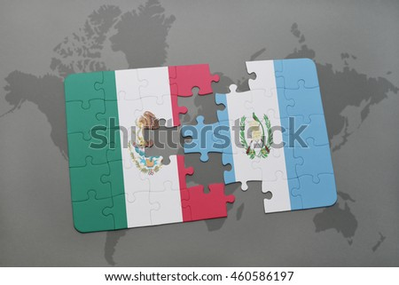 puzzle with the national flag of mexico and guatemala on a world map background. 3D illustration
