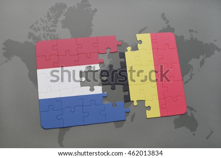 puzzle with the national flag of netherlands and belgium on a world map background. 3D illustration