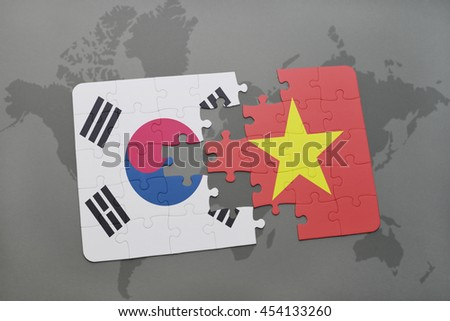puzzle with the national flag of south korea and vietnam on a world map background. 3D illustration