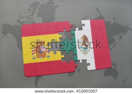 puzzle with the national flag of spain and mexico on a world map background. 3D illustration