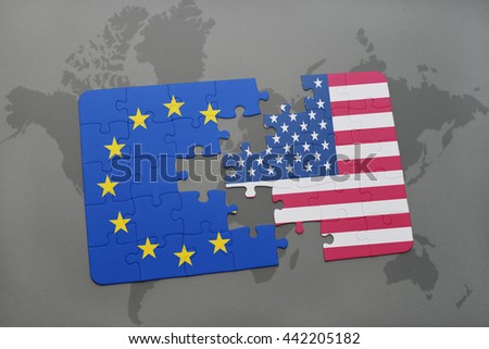puzzle with the national flag of united states of america and european union on a world map