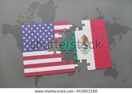 puzzle with the national flag of united states of america and mexico on a world map background