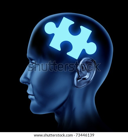 Puzzled brain representing solutions and creativity with a missing piece of the puzzle.