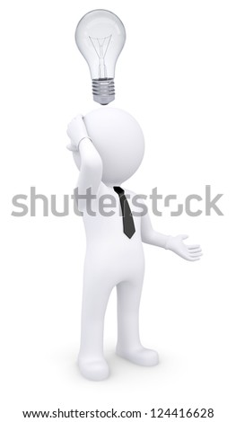 Puzzled white 3d man with light bulb over his head. Isolated render on a white background