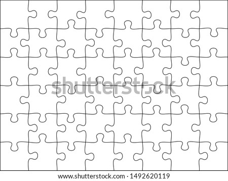 Puzzles grid template. Jigsaw puzzle 48 pieces, thinking game and 8x6 jigsaws detail frame design. Business assemble metaphor or puzzles game challenge  illustration