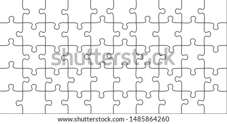 Puzzles pieces. 10x5 jigsaws grid, puzzle shape and join 50 piece game. onundrum scheme or team work success metaphor. Graphic illustration template