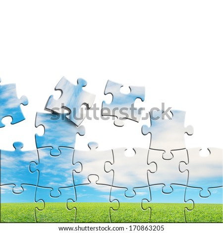 Puzzles with beautiful landscape on it in white background