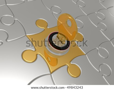 Puzzles with the lock and a key on a white background