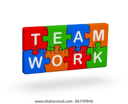 Puzzles with the words of team and work