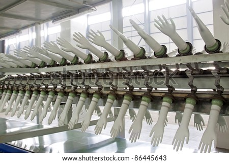 PVC gloves production line in a factory