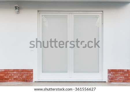PVC or aluminum door with Venetian blinds integrated in the glass. Double glazed window #361556627