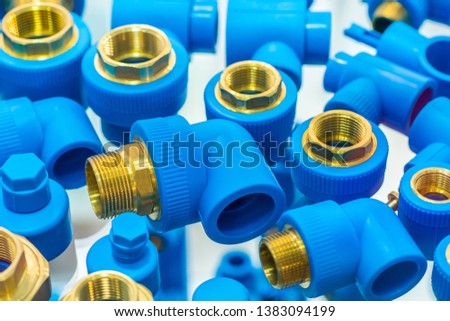 PVC Pipe connections, PVC Pipe fitting, PVC Coupling. Stainless steel Fittings for pipes. Details pipes different types collection of water tube industry gas valve #1383094199