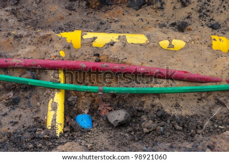 pvc pipes and cables in the earth