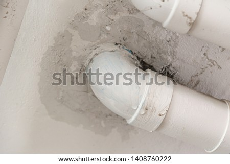 PVC Water leak pipe, Building Drainage pipes crack seep problem need to fix Stok fotoğraf ©