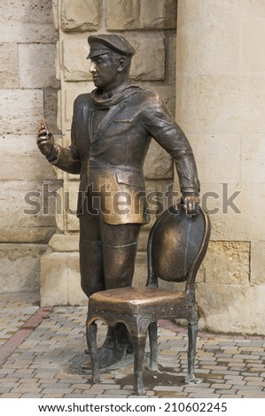 PYATIGORSK, RUSSIA - AUGUST 11, 2014: Ostap Bender\'s sculpture from the novel Twelve Chairs