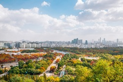 Pyeonghwa park and Seoul city panorama view from Sky park at autumn in Seoul, Korea