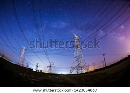 Pylon and star, pylon and the Milky Way #1423854869
