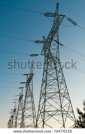 Pylon and transmission power lines