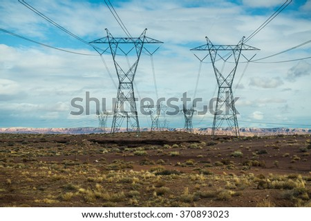 Pylon high voltage power lines , USA #370893023