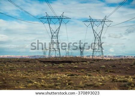 Pylon high voltage power lines , USA #370893023