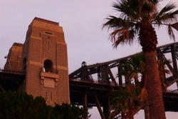 Pylon of the Sydney Harbour Bridge at sunrise in New South Wales Australia