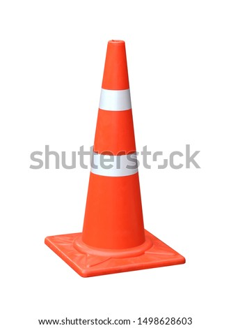 Pylon sign Orange and White reflective traffic cone isolated on white background.concept for hazards and safety.