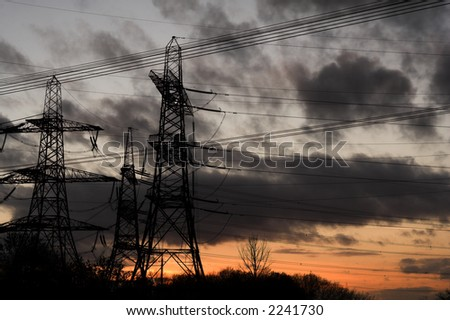 pylon sunset with dark grey clouds