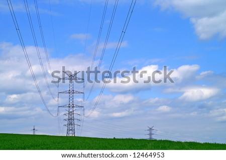 pylons against a blue sky #12464953