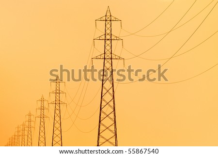 pylons supporting overhead electricity conductors for electric power transmission
