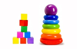 Pyramid and cubes for kids. Toys for kids - pyramid and cubes. Cubes and pyradim
