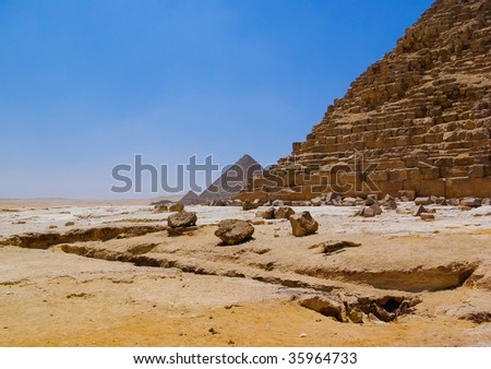 Pyramid and desert in Giza, Cairo, Egypt