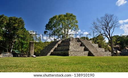 Pyramid and Stella in the ancient Mayan city of Copan in Honduras.