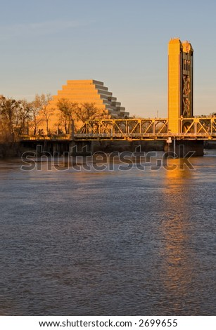 Pyramid and Tower Bridge in Sacramento at sunset