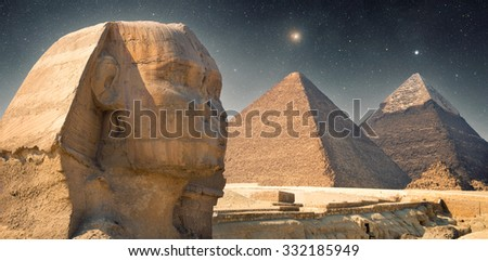Stock Photo Pyramid at night under the stars. shining star