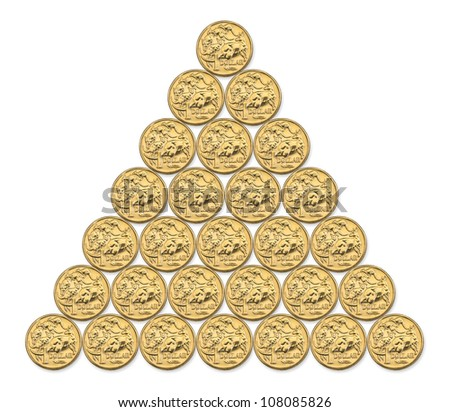 Pyramid composite photo of Australian one dollar coins