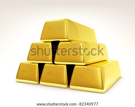 Pyramid from Golden Bars on white background (Hight Resolution 3D Image)