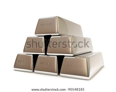 Pyramid from Silver Bars isolated on white background