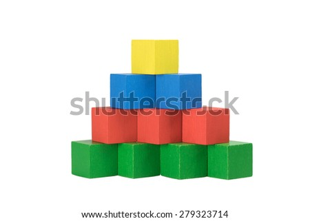 Pyramid from wooden cubes isolated on a white background. Bottom line of green cubes over which there are three red cubes over which there are two blue cubes on top is a yellow cube. Front view