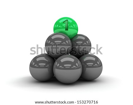 Pyramid. Green ball on the top. Concept 3D illustration