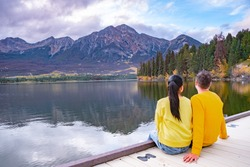 Pyramid Lake, Jasper National Park,Canadian Rocky Mountains Alberta, Canada. Canadian Rockies, couple on vacation in Canada