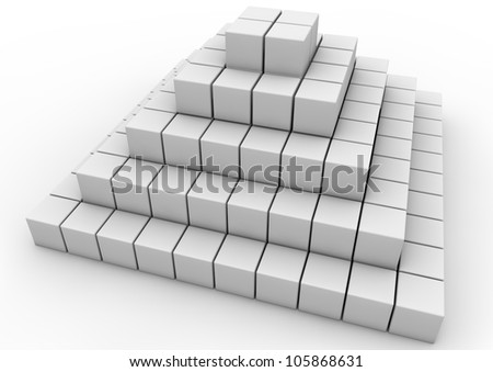pyramid made of white cubes