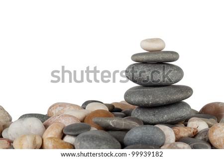 Pyramid marine stones isolated on white background Foto stock ©