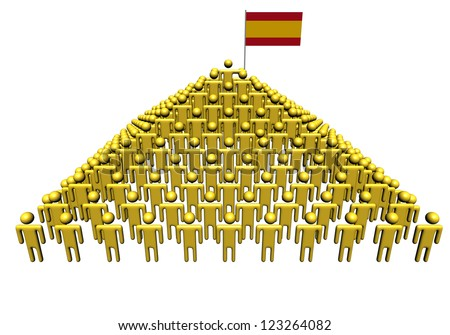 Pyramid of abstract people with Spain flag illustration