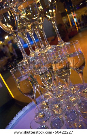 Pyramid of champagne glasses