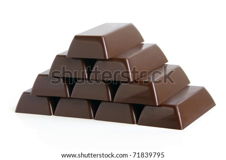 Pyramid of chocolate sweets on a white background