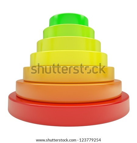 Pyramid of colored discs. Isolated render on a white background