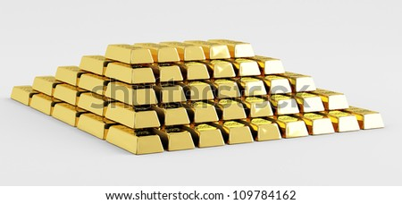 Pyramid of gold bars on a white background