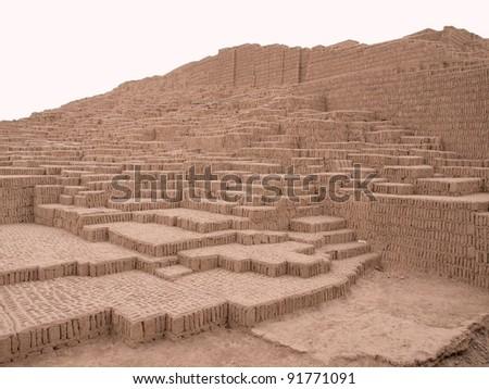 Pyramid of Huaca Pucllana, pre Inca culture ceremonial building ruins in Lima, Peru
